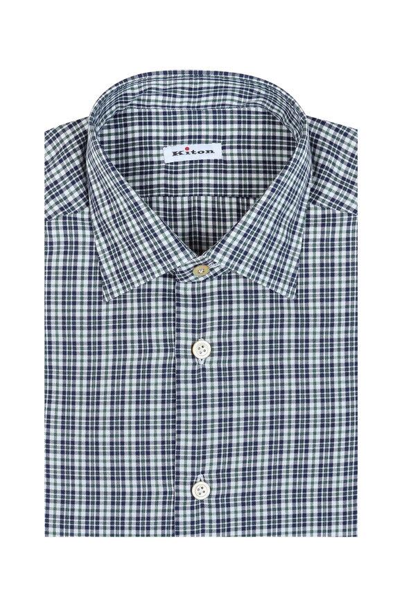 Kiton Black & White Plaid Cashmere Blend Dress Shirt