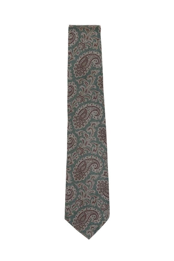 Kiton Olive Green Paisley Wool Necktie