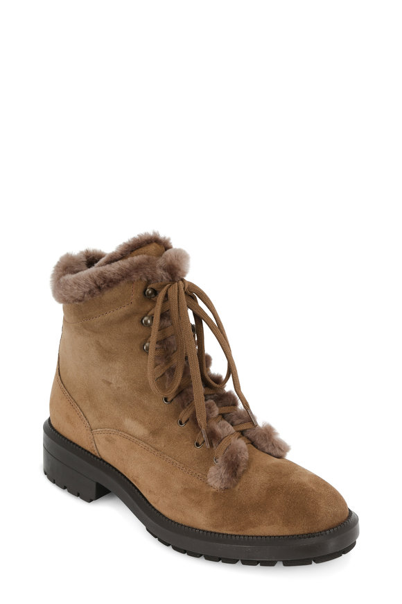 Aquatalia Lenore Taupe Suede Shearling Lined Boot, 35mm