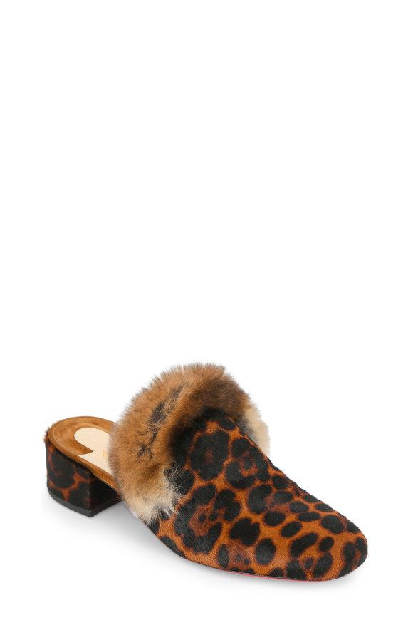 Christian Louboutin Boudiva Leopard Print Fur Mule