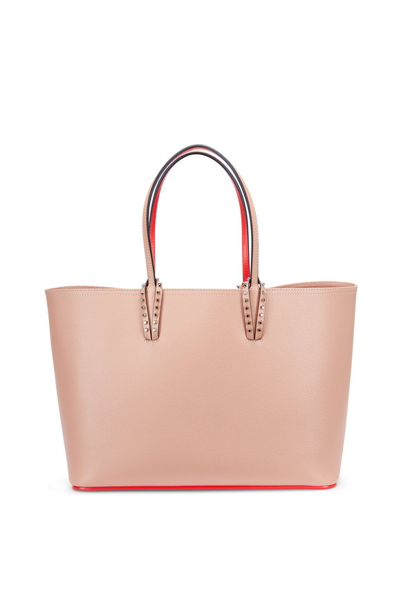 Christian Louboutin Cabata Nude & Red Leather Studded Tote