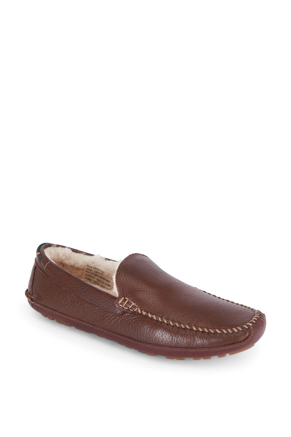 Trask Denton Brown Leather Shearling Lined Loafer
