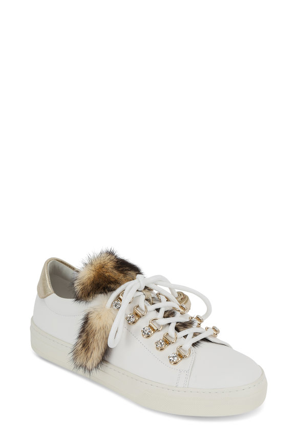 Tod's White Leather Mink Trim Sneaker