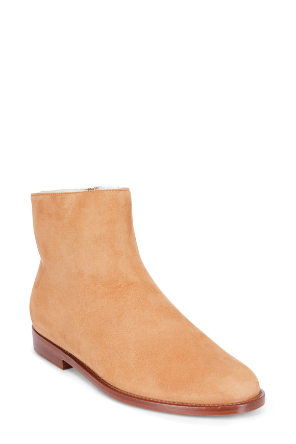 Mansur Gavriel Camello Tan Suede Shearling Lined Boot