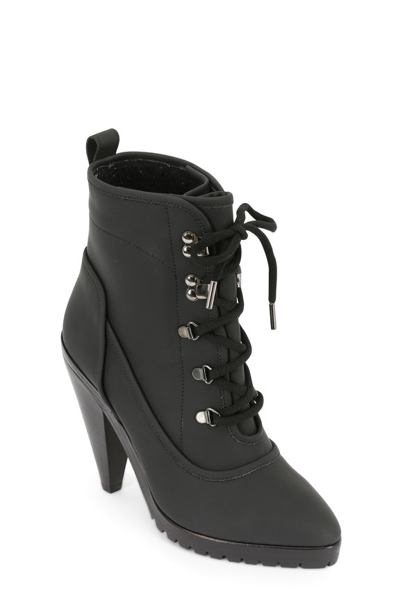 Veronica Beard Charley Black Coated Leather Lace-Up Bootie, 100mm