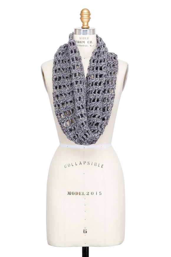 Hania Graziella Grey Open Weave Cashmere Snood