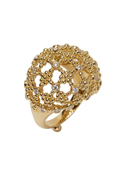 Temple St. Clair - 18K Yellow Gold Diamond Fiori Bombe Ring