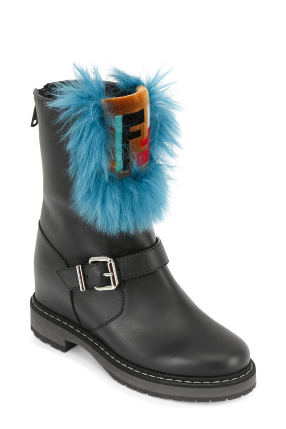Fendi Black Leather Fur Trim Wedge Combat Boot
