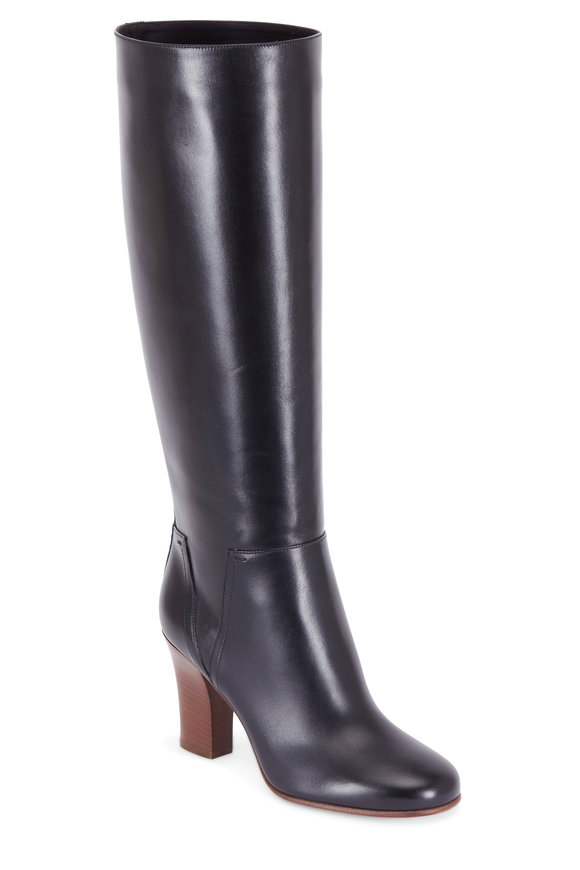 Valentino Soul Rockstud Black Leather Tall Boot, 85mm