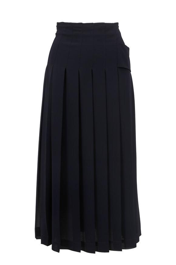 Victoria Beckham Dark Navy Pleated Skirt