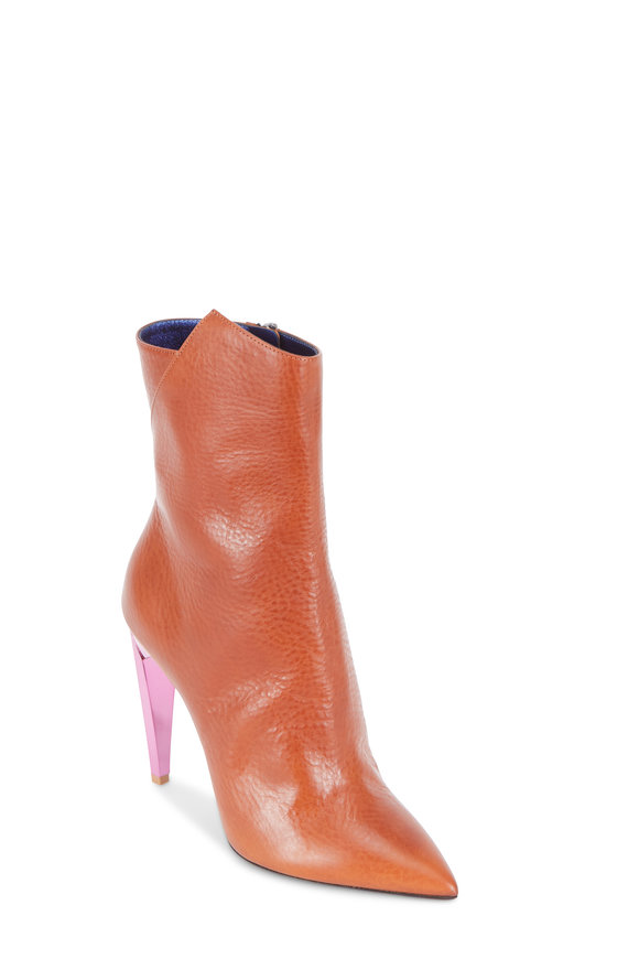 Saint Laurent Freja Cognac Leather Pink Metal Heel Bootie, 105mm