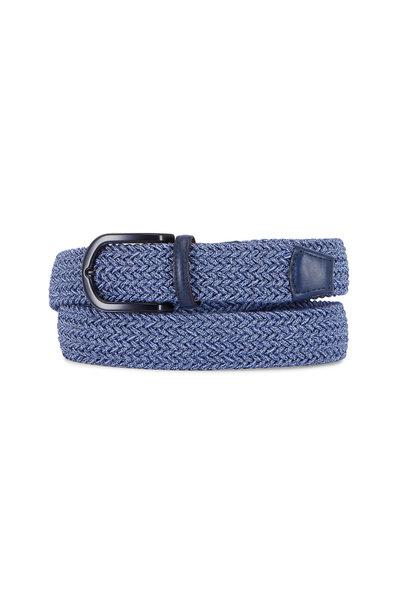 Torino - Medium Blue Melangé Rayon Elasticized Belt