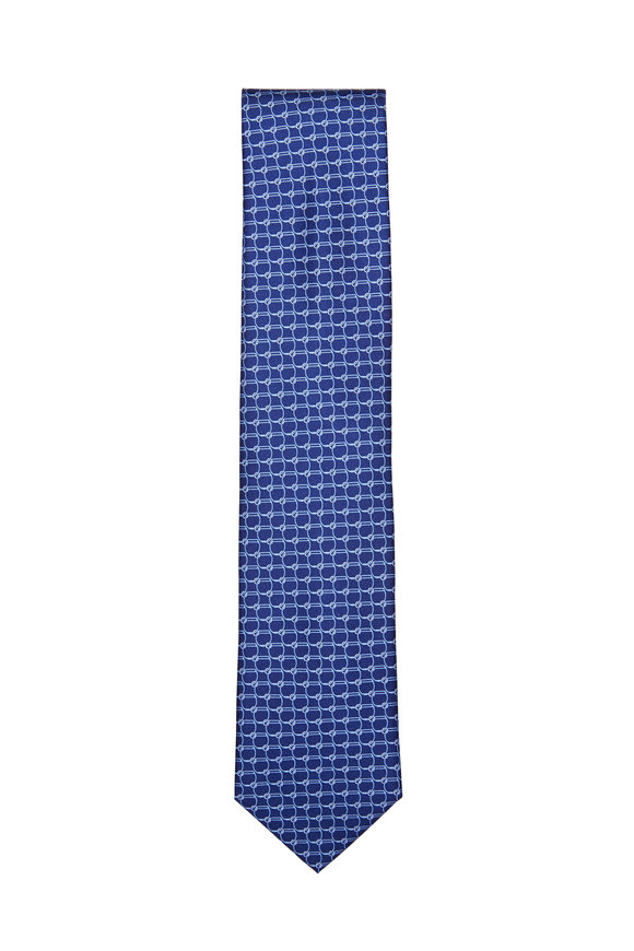 Brioni Navy Link Patterned Silk Necktie