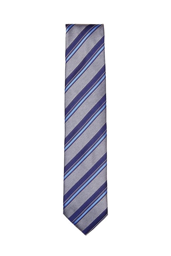 Brioni Grey & Blue Silk Striped Necktie