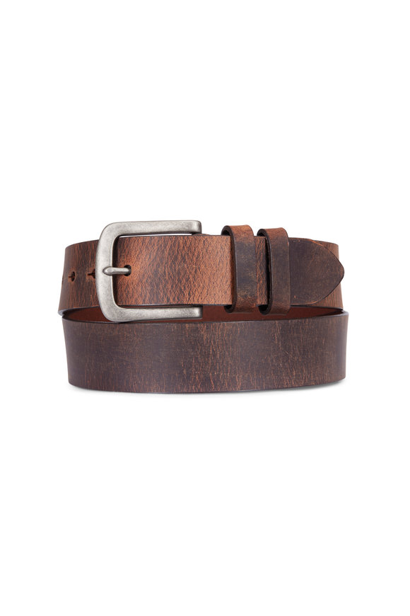 Torino Dark Brown Distressed Waxed Harness Leather Belt