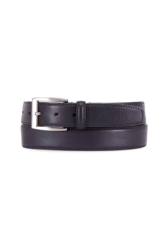 Trafalgar Trent Black Textured Leather Belt