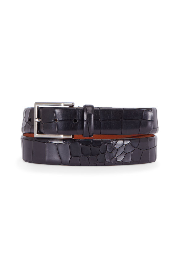 Trafalgar Mancini Black Crocodile Embossed Leather Belt