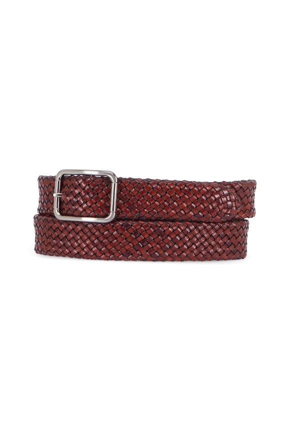 Trafalgar Orlando Dark Brown Braided Leather Belt