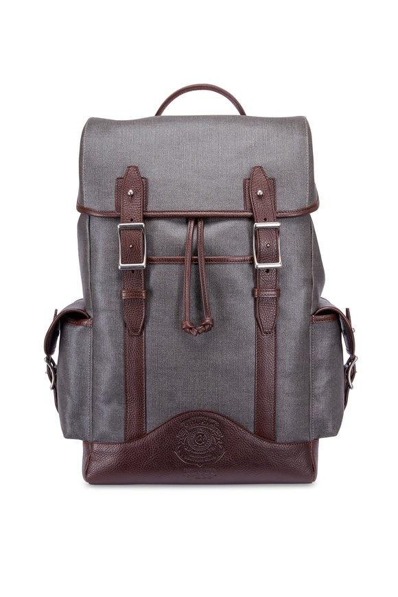 Ghurka Explorer Slate Grey & Brown Leather Backpack