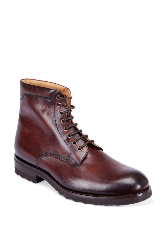 Magnanni Saxon Brown Burnished Leather Lace-Up Boot
