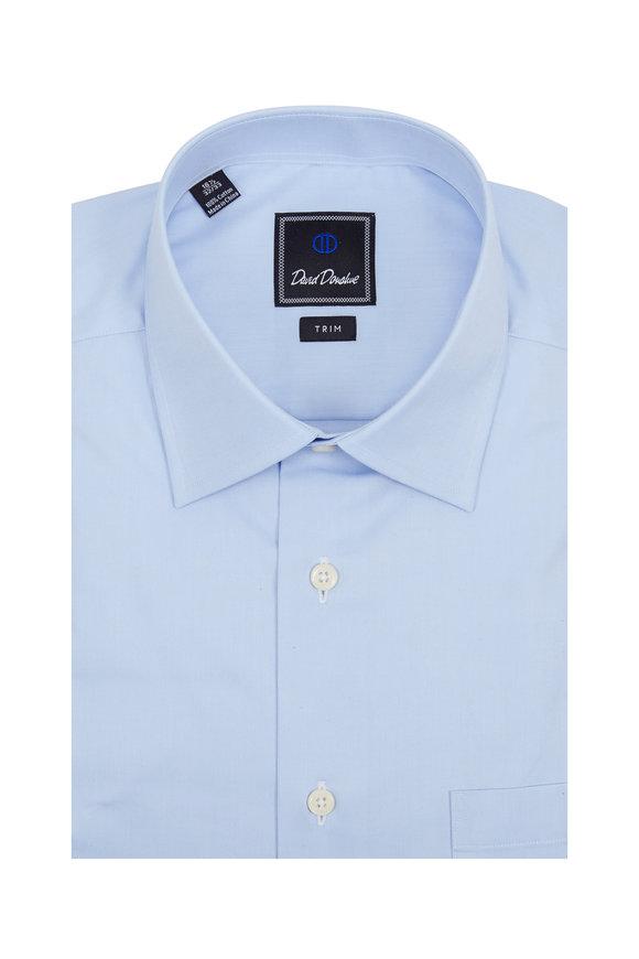 David Donahue Light Blue Trim Fit Dress Shirt