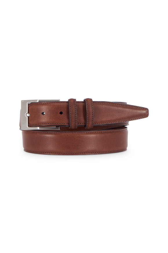 Torino Dark Brown Deertan Glove Leather Belt