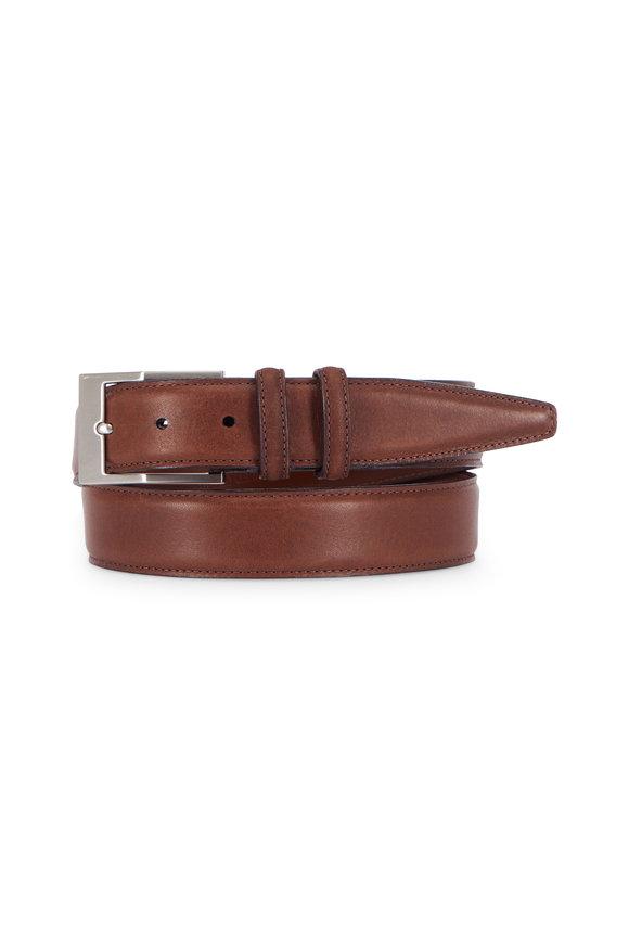 Torino Dark Brown Deertan Glove Leather Belt