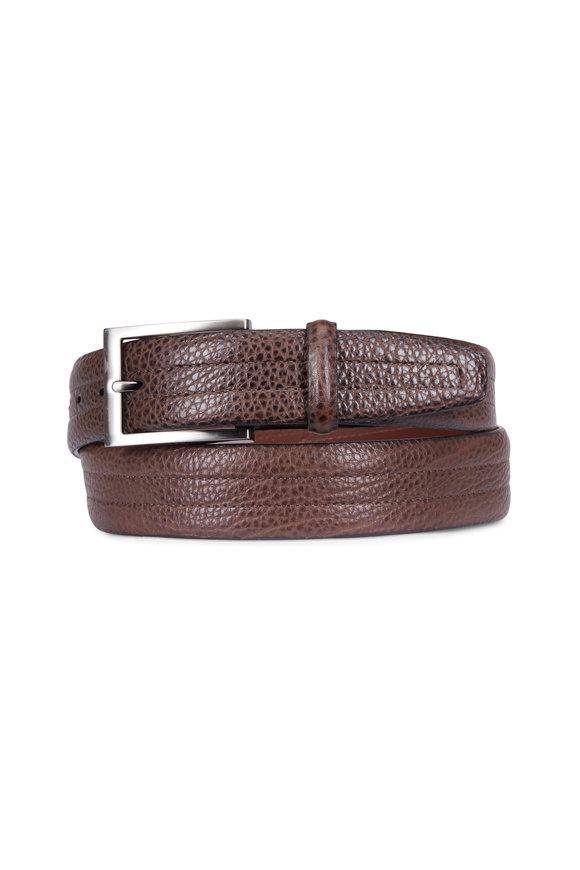 Torino Dark Brown American Bison Stitched Leather Belt