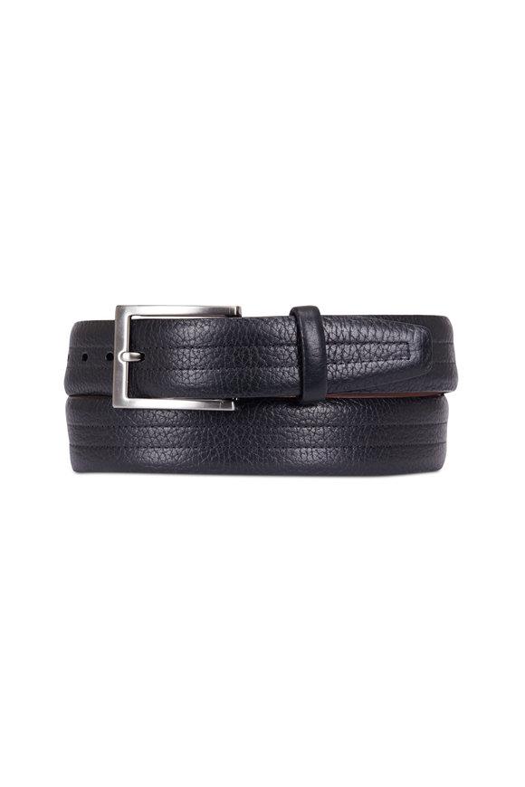 Torino Black American Bison Stitched Leather Belt