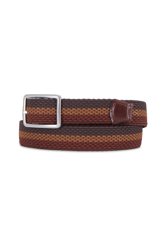 Torino Brown & Rust Woven Stretch Reversible Belt