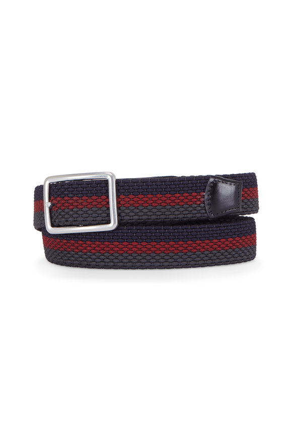 Torino Navy & Burgundy Stripe Woven Reversible Belt
