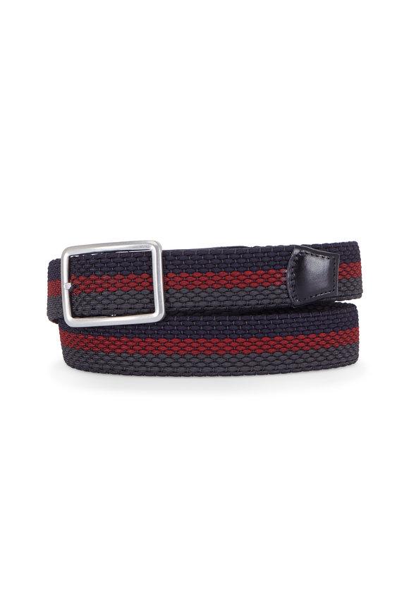 Torino Navy & Burgundy Stripe Woven Reversible Belt