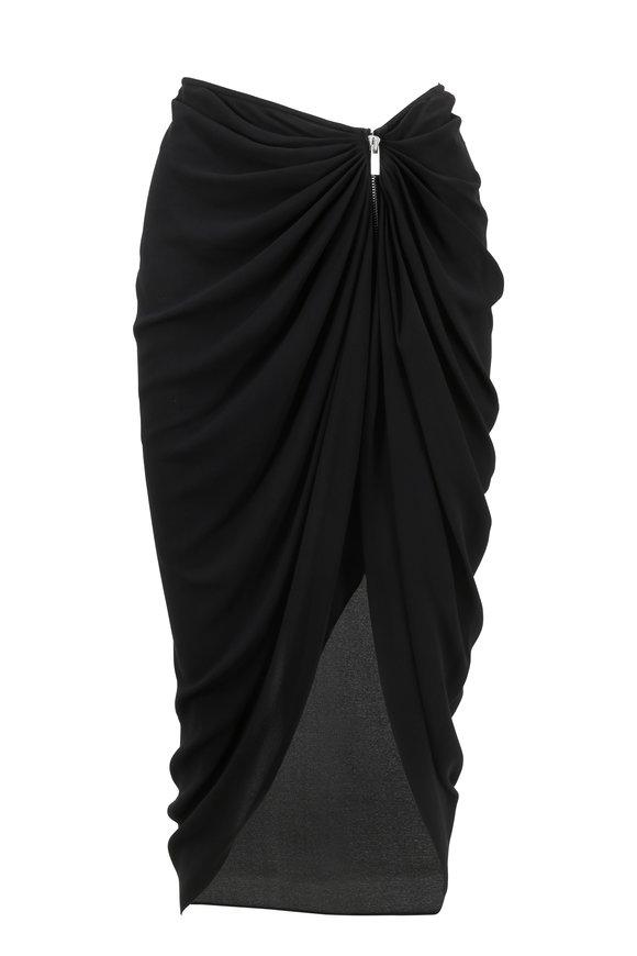 Michael Kors Collection Black Silk Zip Front Sarong Skirt