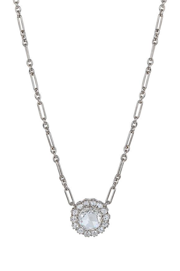 Kwiat 18K White Gold Diamond Vintage Pendant Necklace