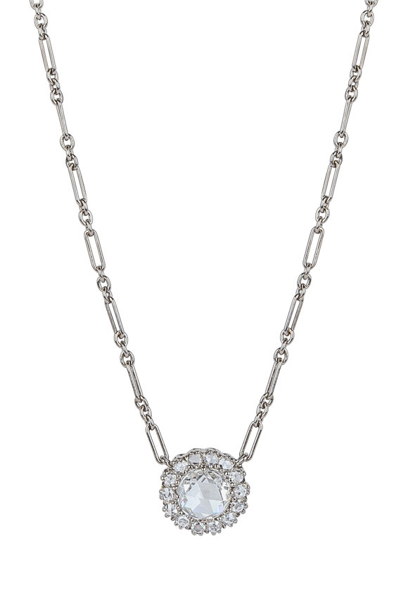 Kwiat 18K White Gold Diamond Vintage Pendant Necklace