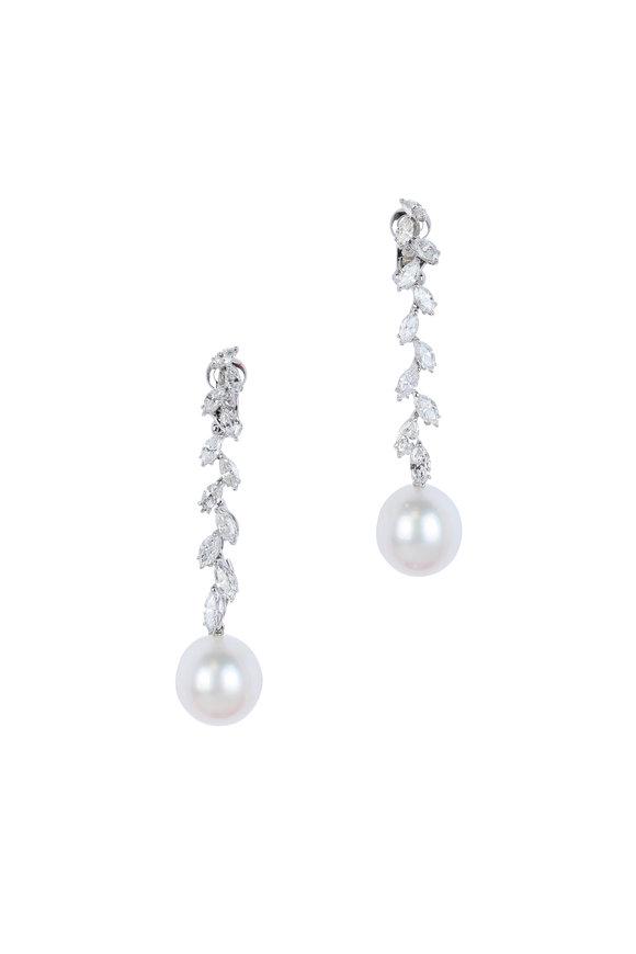 Assael 18K White Gold South Sea Pearl & Diamond Earrings