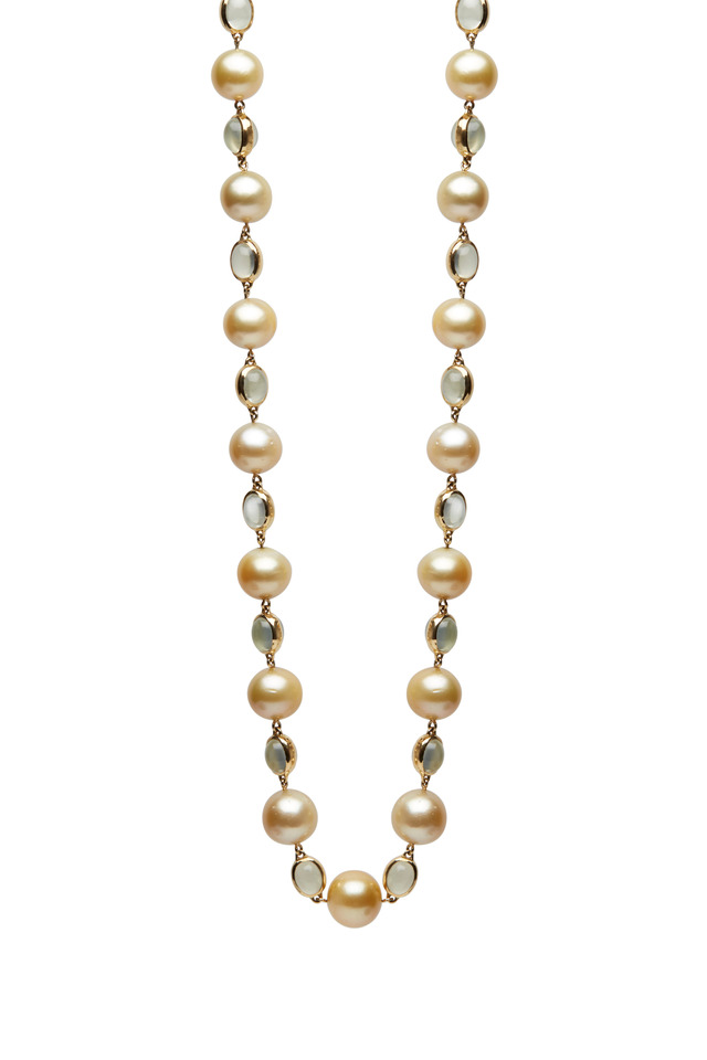 Yellow Gold South Sea Pearl Moonstone Necklace