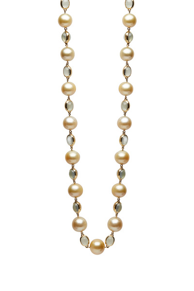 Assael - Yellow Gold South Sea Pearl Moonstone Necklace