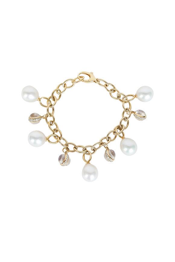 Assael 18K Gold Pearl & Diamond & Moonstone Bracelet