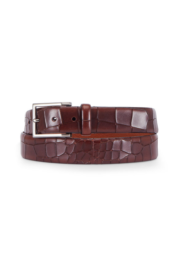 Trafalgar Mancini Brown Crocodile Embossed Leather Belt