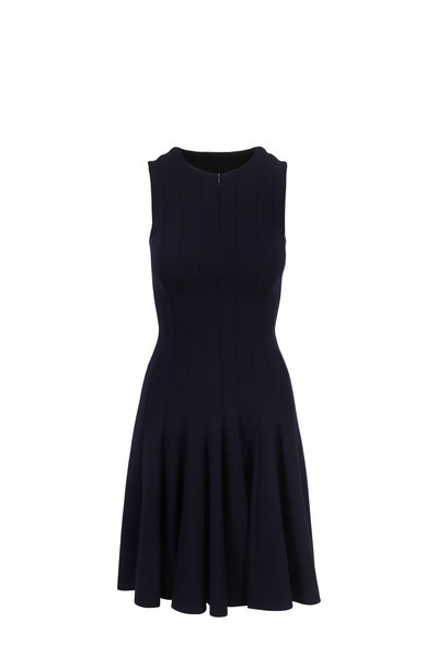 Akris - Navy Blue Wool Front Zip Fit & Flare Dress