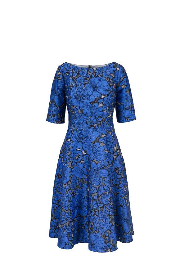Lela Rose Ocean Blue Floral Fil Coupe Elbow Sleeve Dress