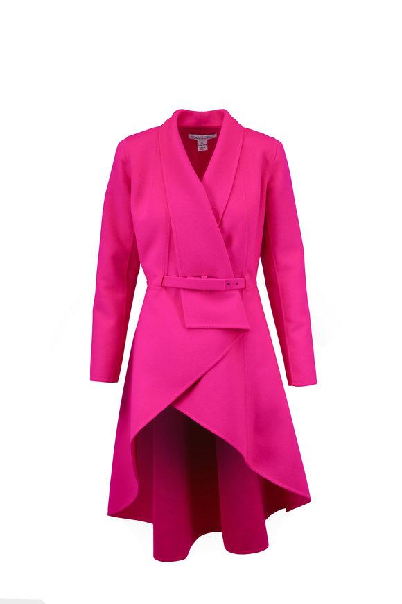 Oscar de la Renta Fuchsia Wool & Cashmere Draped Front Belted Coat