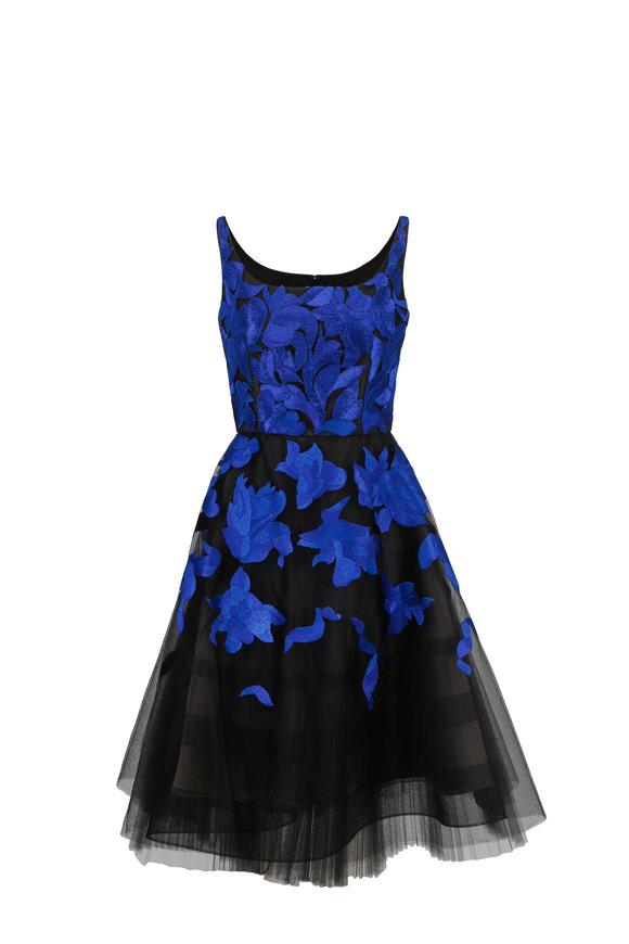 Oscar de la Renta Blue & Black Embellished Cocktail Dress