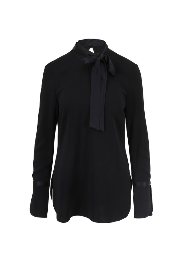Veronica Beard Costello Black Tie-Neck Blouse