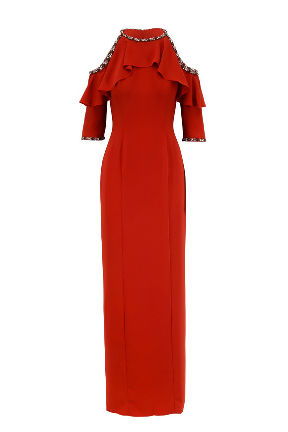 Jenny Packham Sienna Ruffled Cold Shoulder Gown
