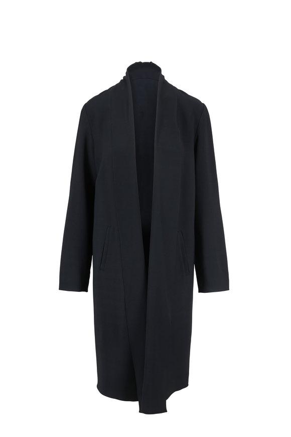 Peter Cohen Dark Green Gabardine Open Front Coat
