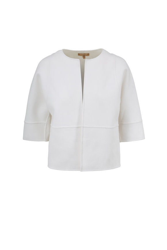 Michael Kors Collection Winter White Stretch Wool Cropped Jacket
