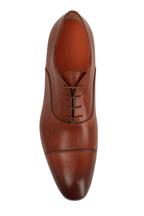 Santoni - Salem Brown Leather Burnished Cap-Toe Oxford