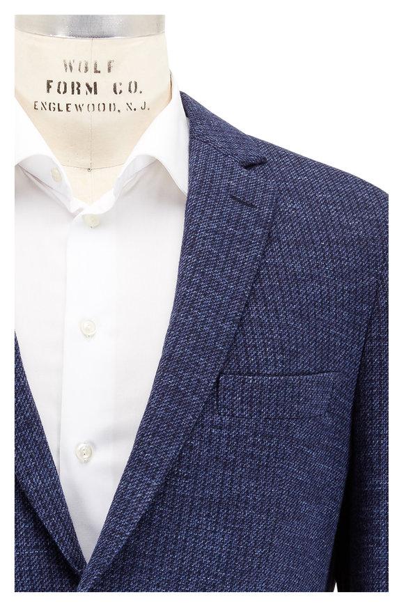 Maurizio Baldassari Navy Blue Textured Soft Knit Sportcoat